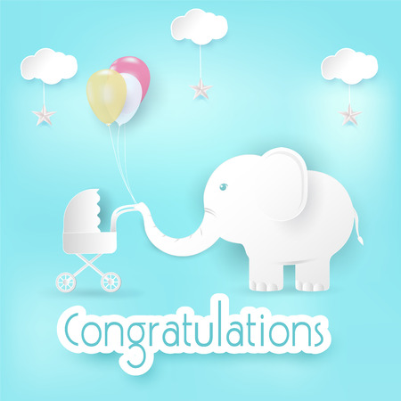 Elephant and balloons with baby stroller Congratulations card, Happy Birthday or Shower card paper art style illustration blue background Illustration