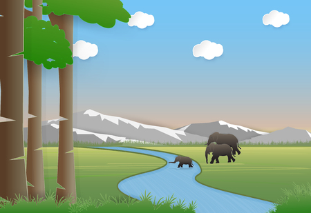 Elephants family in meadow. Nature landscape background  paper art style illustration.