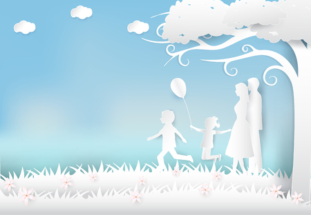 Happy family having fun in the meadow, Happy parents day Paper art background  paper cut illustration