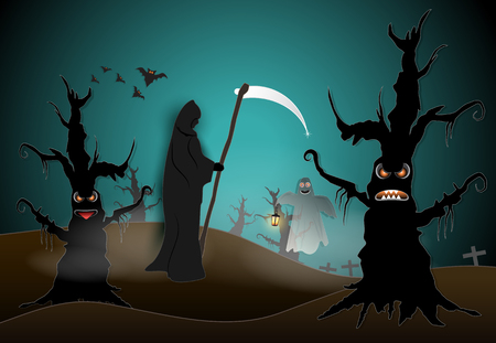 Grim reaper in cemetery and dark forest with spooky and bat Halloween paper art background, paper cut style illustration