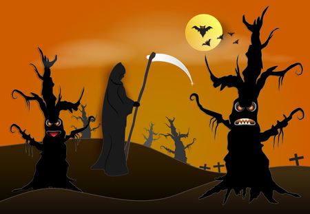Grim reaper in dark forest and bat Halloween paper art background, paper cut style illustration