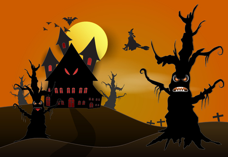 Young witch and castle in dark forest Halloween paper art background concept, paper cut style illustration