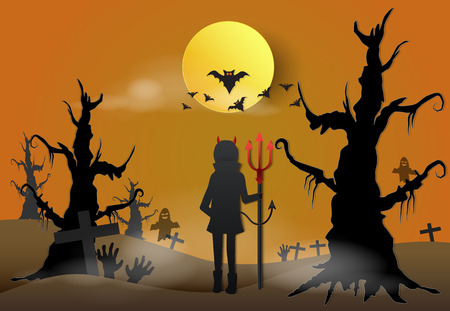 Young devil in dark forest with spooky and bat Halloween paper art background concept, paper cut style illustration Standard-Bild - 114773471
