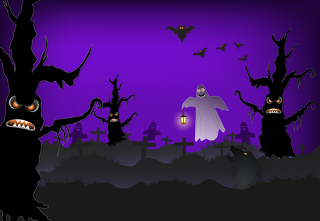 Ghost in cemetery and bat Halloween paper art background, paper cut style illustration