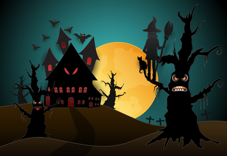 Young witch and cat in dark forest Halloween paper art background concept, paper cut style illustration