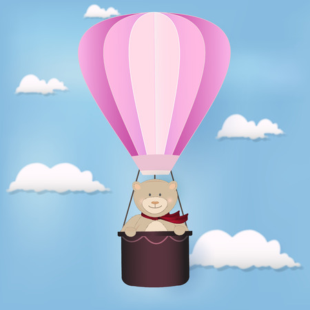 Teddy bear and hot air balloon floating on sky illustration background for Greeting card, shower card