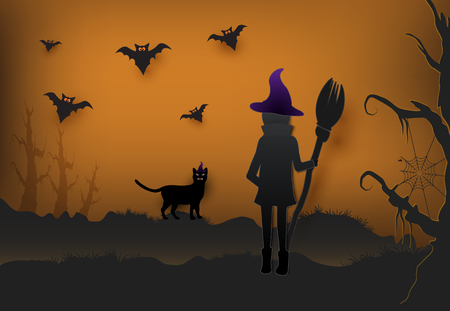 Young witch with cat in dark forest and bat Halloween paper art background, paper cut style illustration