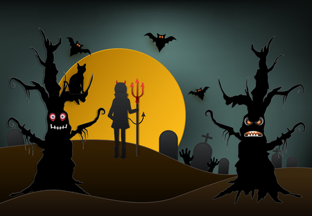 Young devil holding trident with cat in cemetery and dark forest and bat Halloween paper art background, paper cut style illustration