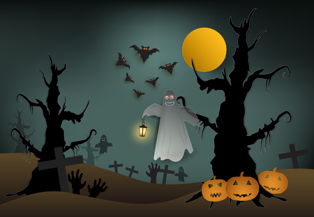 Ghost in cemetery and pumpkin Halloween paper art background, paper cut style illustration