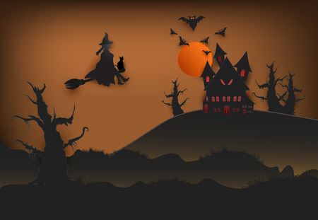 Paper art of witch with cat in dark forest and bat Halloween background, paper cut style illustration