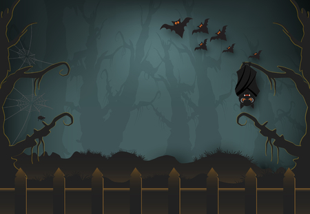 Group of Bat in dark forest, Halloween paper art background, paper cut style illustration. 일러스트
