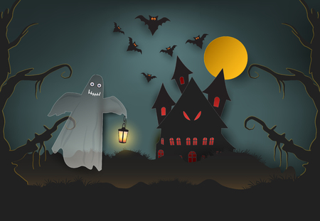 Ghost holding the lamp and castle in dark forest, Halloween paper art background, paper cut style illustration