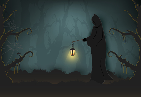 Grim reaper holding the lamp in dark forest, Halloween paper art background, paper cut style illustration.