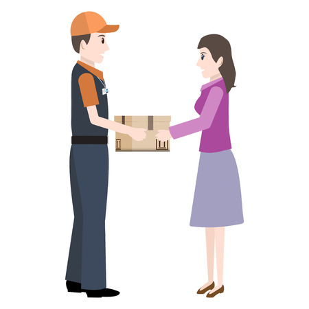 Man shipped box parcel to woman icon. Delivery service illustration