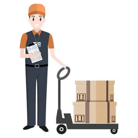 Homme avec des boîtes et un transpalette à main ICOM. illustration de la livraison ou de la caisse de déménagement Vecteurs