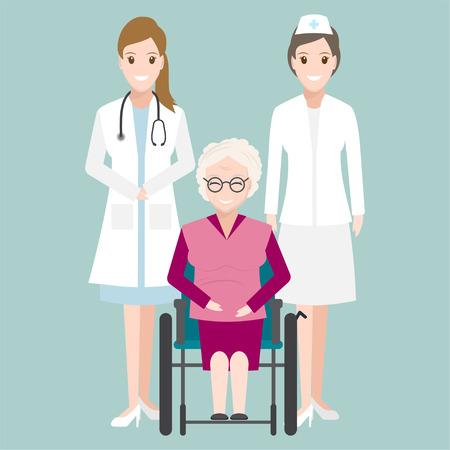 Médecin, infirmière et femme âgée assise sur l'illustration de fauteuil roulant, concept de soins médicaux
