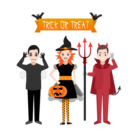 Happy Halloween party, costume child illustration. Trick or Treat