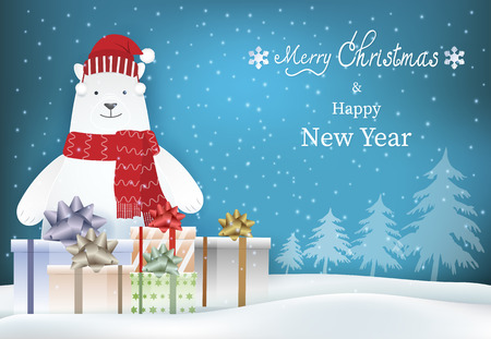 Merry Christmas, Happy New Year text with polar bear and gift boxes illustration background, paper art, paper craft style