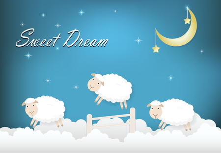 Sweet drean text with sheep jumping on cloud paper art style illustration Stock fotó - 110020669