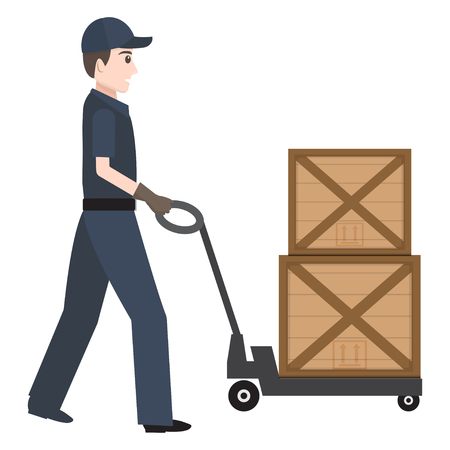 Man with hand pallet jack lift and crate icon sign, Hand Pallet Truck illustration