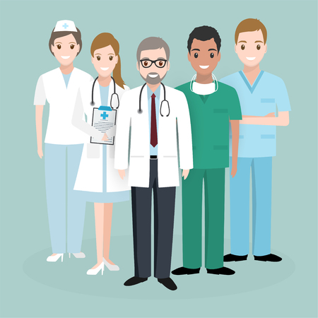 Doctor and Nurse team illustration icon. Medicine concept illustration
