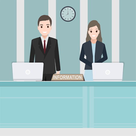 Reception staff at the information counter cartoon icon illustration