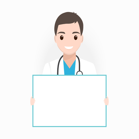 Doctor with billboard adn medical presentation icon illustration Stock Illustratie