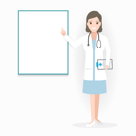 Female Doctor with billboard adn medical presentation icon illustration