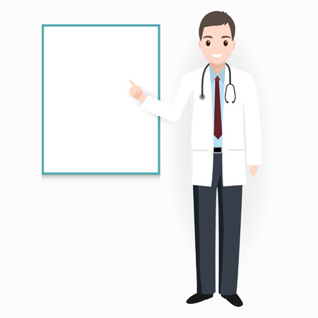 Doctor with billboard adn medical presentation icon illustration