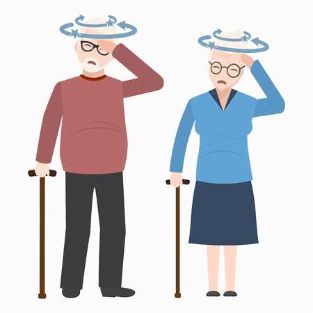 Dizziness elderly icon. Medicine sign illustration