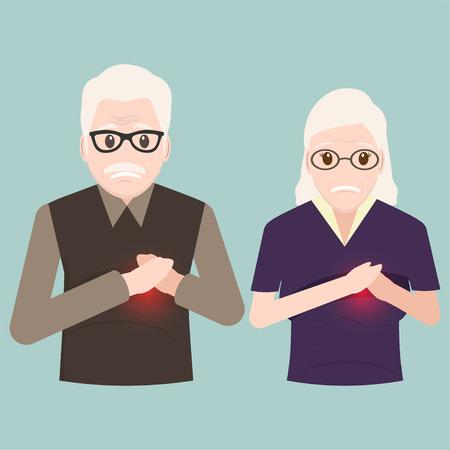 Illustration masculine et féminine âgée de patient cardiaque, icône de patients thoraciques, icône de signe de médecine