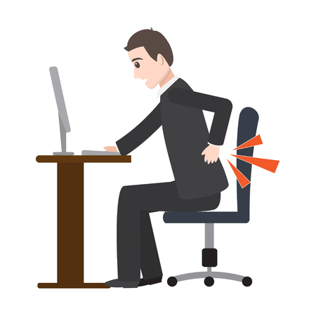 Man suffering from back pain icon, medical illustration Illustration