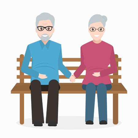 Elderly man and woman sitting on bench icon.  illustration Illustration
