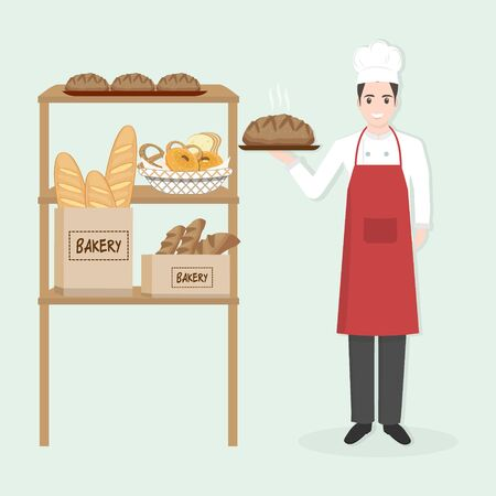 Male Chef with bakery character people icon illustration