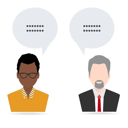 Man and man with speech icon illustration