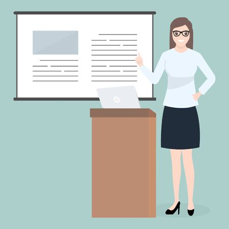 Woman standing and presentation icon. Meeting Business icon
