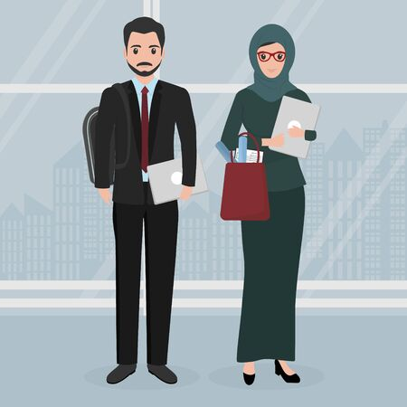 Muslim business woman and man character cartoon people icon illustration Banco de Imagens - 132089136