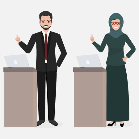 Muslim man and woman standing and presentation icon. Meeting Business icon