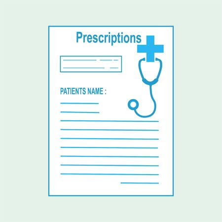 Prescriptions and Stethoscope  icon. Medicine illustration