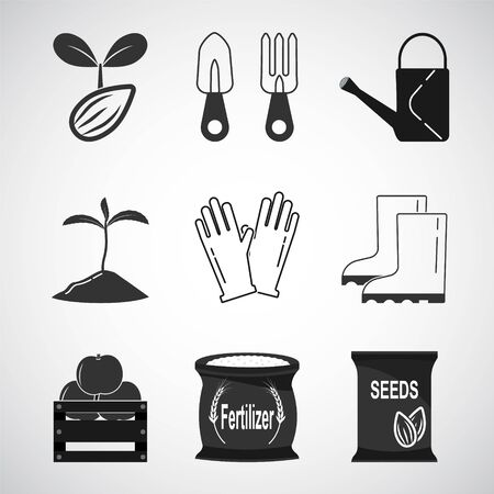 Gardening and Planting icon set illustration Illustration