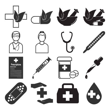 Medical, alternative medicine icon set illustration