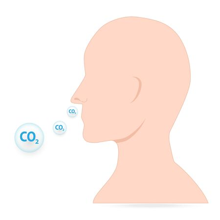 Breathing with carbon dioxide icon,  dangerous breathing illustration