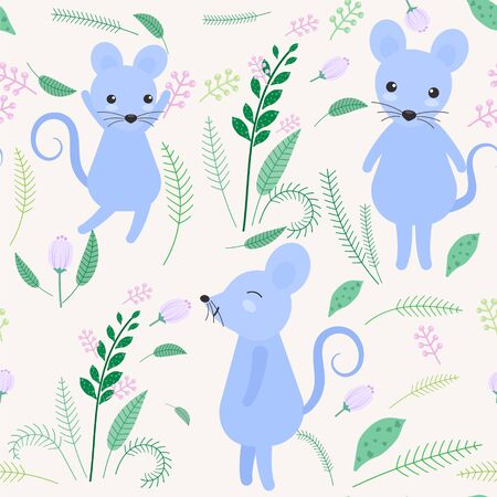 Cute mouse with floral and leaf seamless pattern background illustration