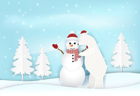 Polar bear with Snowman in winter greeting card paper art, paper craft illustration