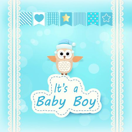 Baby boy shower card with Owl on blue. Happy Birthday card paper art style illustration