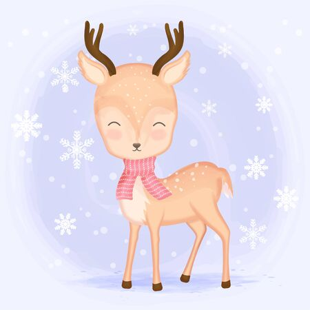 Cute deer with snow and snowflake cartoon hand drawn illustration Christmas background Standard-Bild - 139721616