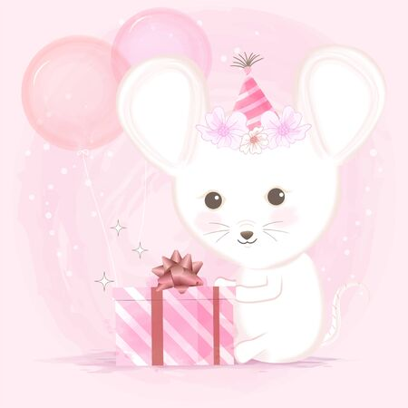 Cute mouse and gift box with balloons hand drawn cartoon illustration on pink background Standard-Bild - 139723413