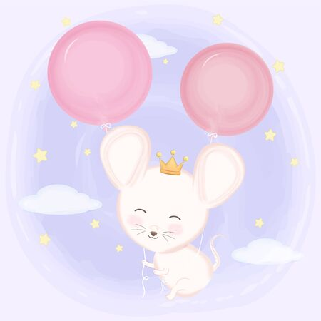 Cute mouse and balloons hand drawn animal illustration watercolor on purple background Standard-Bild - 139723488