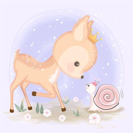 Cute deer and snail hand drawn animal illustration watercolor on purple background Standard-Bild - 139723502