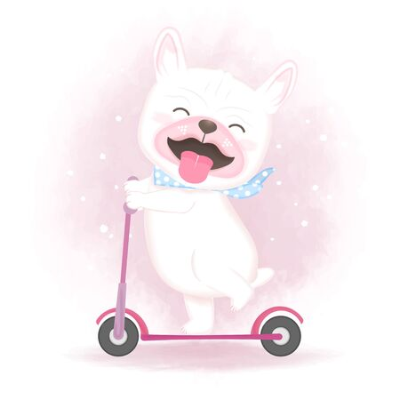 Cute dog riding a scooter, hand drawn cartoon watercolor illustration